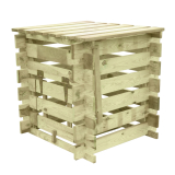 Drewniany kompostownik posiada funkcjonalne drzwiczki od frontu