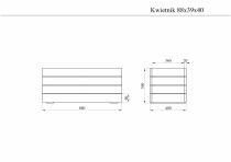 Szara donica: 39 x 88 x 40 cm (wys. x dł. x szer.)