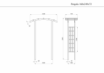 Rysunek z wymiarami konstrukcji pergoli: 160x249x72 cm