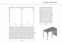 Wymiary ażurowego pawilonu z pergolą: 370 x 180 cm