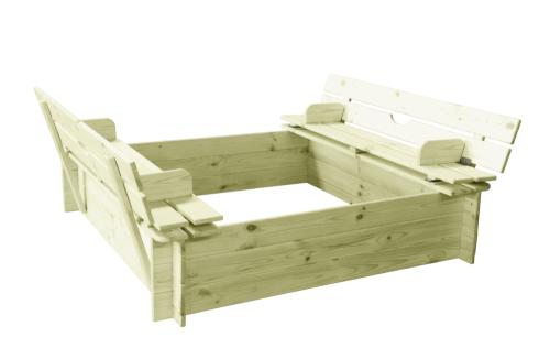 Piaskownica drewniana dla dzieci z praktyczną pokrywą