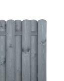 Konstrukcję płotu szarego tworzą sztachety, rygiel dolny i górny