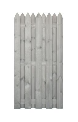 Płot drewniany w delikatnym, szarym kolorze 180x90 cm