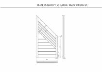 Rysunek techniczny: płot deskowy skos 180x180x4,5 cm