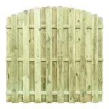 Płot drewniany w kształcie łuku - wytrzymałe, grube deski