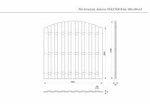 Rysunek techniczny płotu deskowego HOLENDER 180x180 łuk