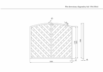 Rysunek techniczny płotu szczelnego 150x180 cm, rama 4 cm