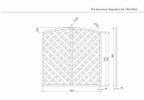 Wymiary płotu diagonalnego 180 x 180 cm