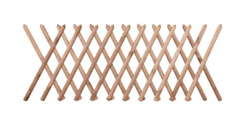 Brązowy płot drewniany w formie ażurowej konstrukcji