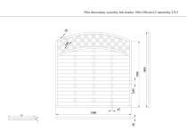 Płot drewniany szczelny łuk kratka 180x180x4x4,5 naturalny L9,5