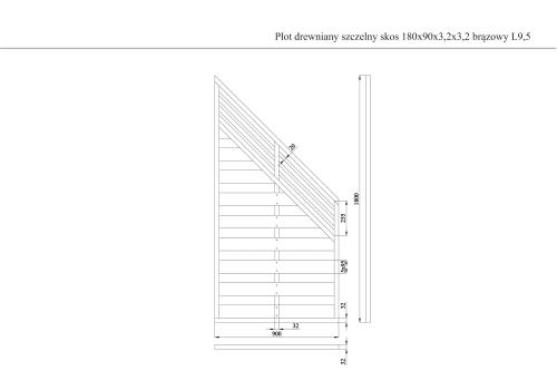 Płot drewniany szczelny skos 180x90x3,2x3,2 brązowy L9,5