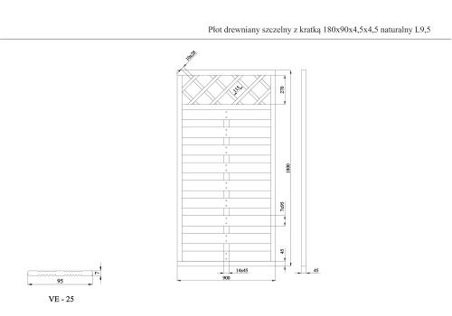 Płot drewniany szczelny z kratką 180x90x4,5x4,5 naturalny L9,5