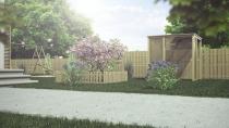 Płot drewniany 80x180 cm w ogrodzie - wizualizacja aranżacji