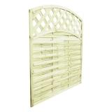 Ozdoba i praktyczne ogrodzenie - panele lamelowe z łukiem i kratką