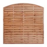 Płot  drewniany szczelny łuk 180x180x3,5x4,5 brązowy L6