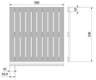 POdest 50x50x2,4 rysunek techniczny