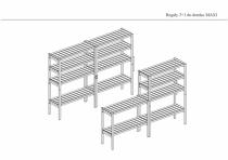 Zestaw stanowią 3 wysokie regały i 1 niższy z funkcją stolika