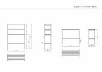 Wymiary regałów na rysunku technicznym
