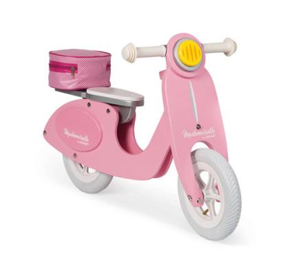 Różowy rowerek z drewnianą ramą - wyjątkowy design marki Janod