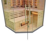 Sauna infrared w kolorze szarym wykonana została z jodły kanadyjskiej oraz hartowanego szkła