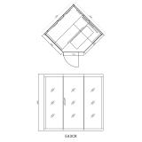 Rysunek z wymiarami szarej sauny infraraed
