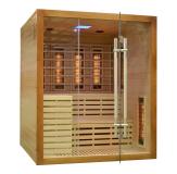 Sauna wykonana jest z drewna jodły kanadyjskiej i hartowanego szkła