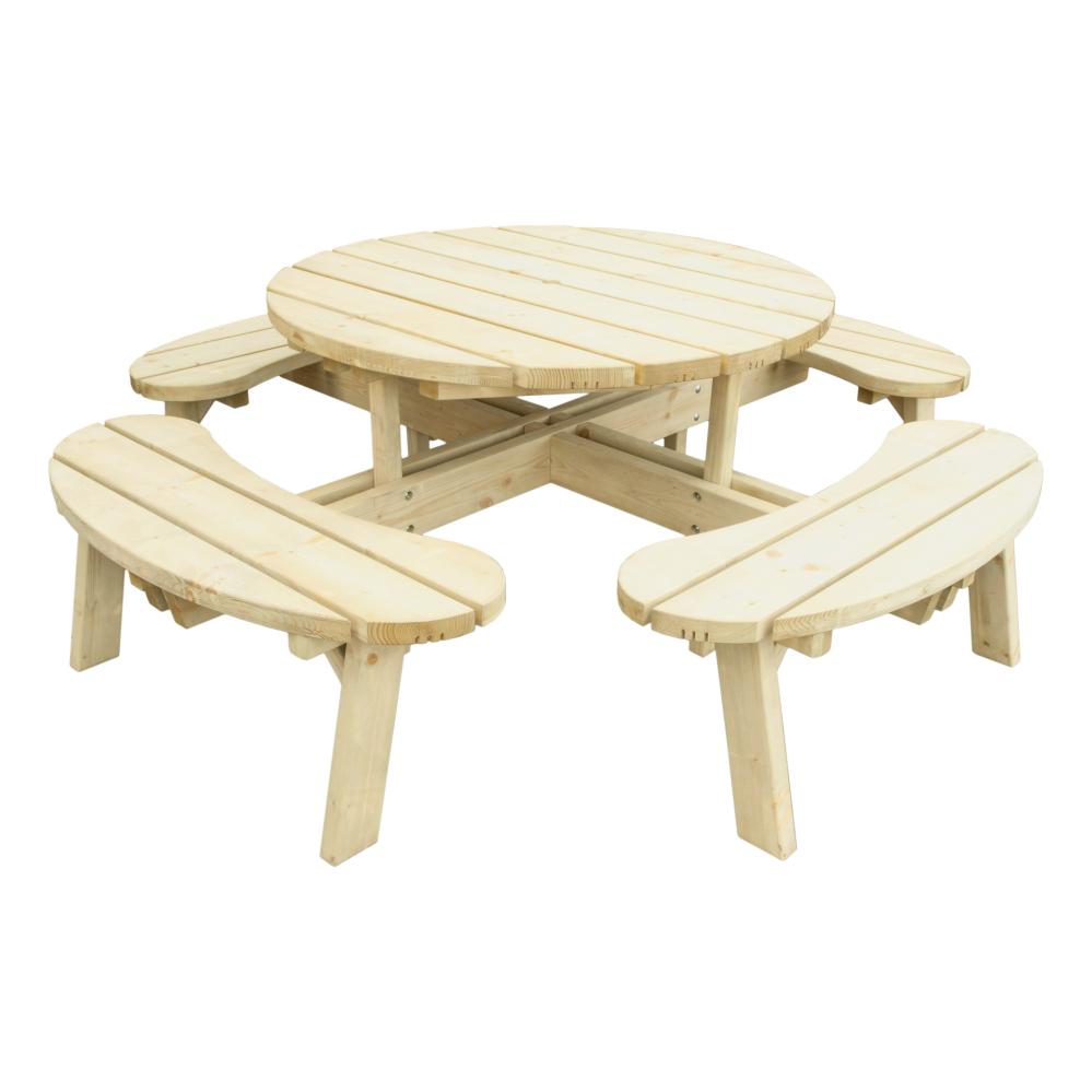 Stół Ogrodowy Okrągły Z ławkami Blat 42 Cm