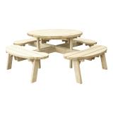 Stół ogrodowy okrągły z ławkami, blat 4,2 cm