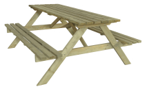 Stolik piknikowy posiada zintegrowane ławki