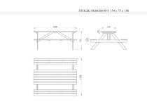 Wymiary stolika ogrodowego i ławek na rysunku technicznym