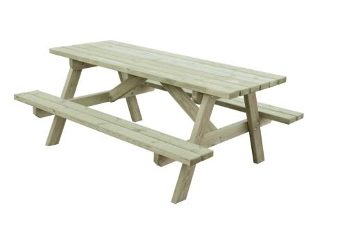 Stół ogrodowy połączony z ławkami - grube deski i słupy konstrukcyjne, supertrwałość