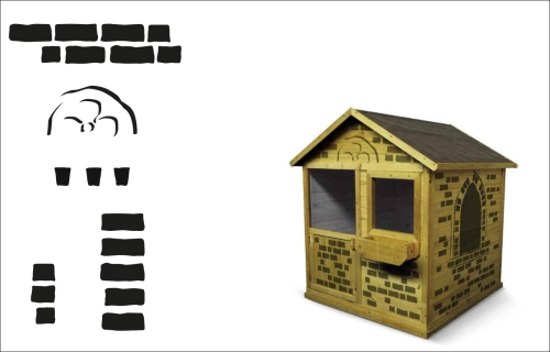 Drewniany domek ogrodowy dla dzieci może stać się rycerskim zamkiem - szablony do dekoracji