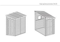 Rysunek techniczny szopy przyściennej drewnianej