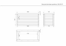 Wymiary skrzynki drewnianej na rysunku technicznym