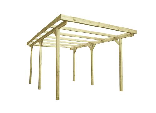 Drewniana wiata garażowa do ogrodu o długości 5 metrów