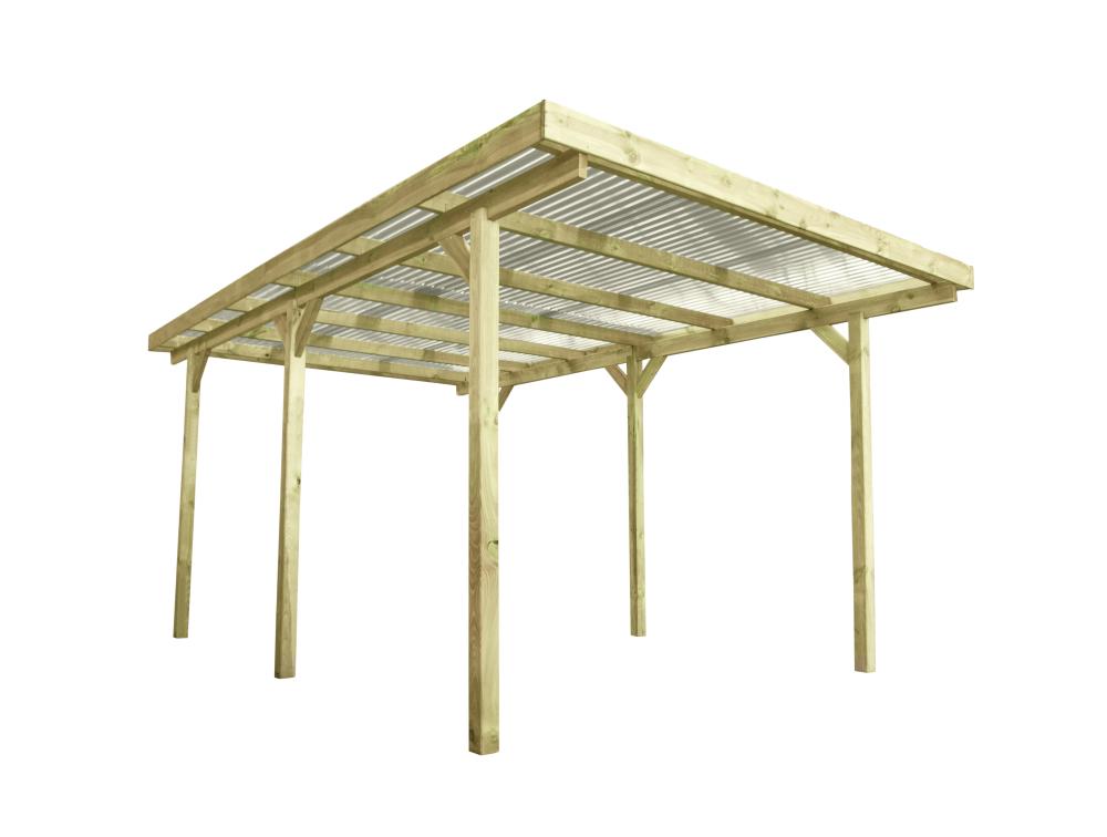 Wiata garażowa drewniana 304x500 pleksa