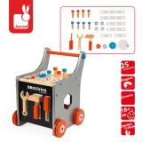 Drewniany wózek warsztatowy + 25 elementów do zabawy