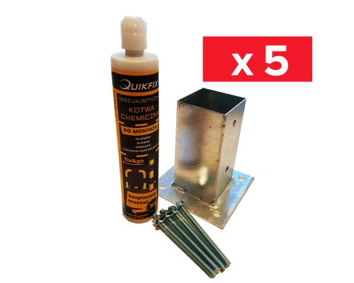 Zestaw 5 x Kotwa na beton 7x7 + Śruby + kotwa chemiczna