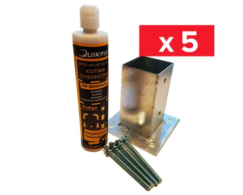 Zestaw 5 x Kotwa na beton 9x9 + Śruby + kotwa chemiczna