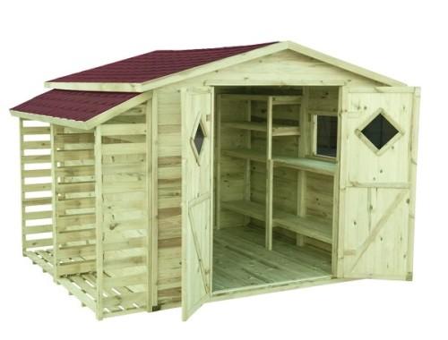 Drewniany domek narzędziowy Premium – All Inclusive w ogrodzie