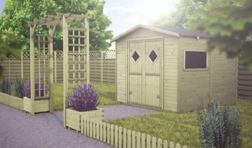 Drewniany domek ogrodowy – idealny schowek na narzędzia