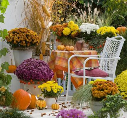 Jesienne dekoracje balkonu i ogrodu